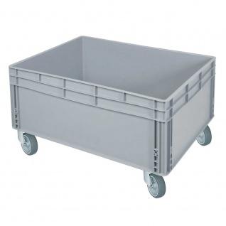 Stapelbehälter / Eurobehälter mit 2 Griffleisten u. 4 Lenkrollen, LxBxH 800 x 600 x 445 mm, grau