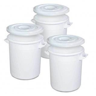 3x Kunststofftonne/Rundtonne 50 Liter mit Deckel, lebensmittelecht, PE-HD, weiß