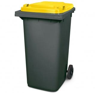 240 Liter MGB, Mülltonne Abfalltonne, grau mit gelbem Deckel