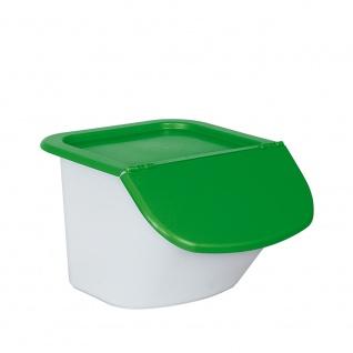 Zutatenspender, Inhalt 15 Liter, LxBxH 440 x 400 x 280 mm, Behälter weiß, Deckel grün