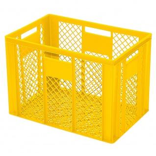 Stapelbehälter / Bäckerkiste mit 4 Durchfassgriffen, LxBxH 600 x 400 x 410 mm, gelb
