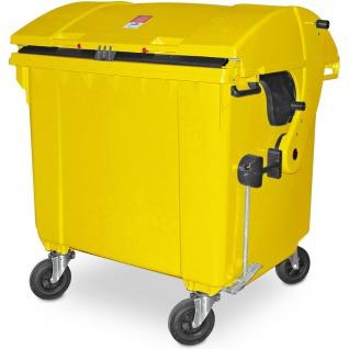 Müllcontainer nach EN 840, 1100 Liter, Runddeckel, mit Aufnahme-Kammleisten, gelb