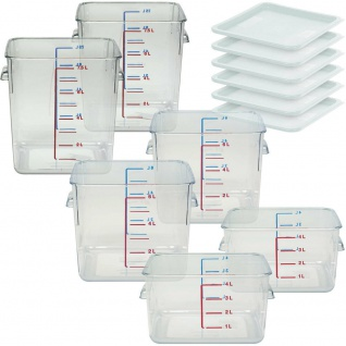 3x 2 Vorratsbehälter 4 l, 6 l und 7, 5 l, Polycarbonat-Kunststoff (PC), glasklar,