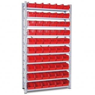 Steckregal, verzinkt, 2000x1070x315 mm, 10 Böden, mit 60 Sichtboxen LB 4 rot