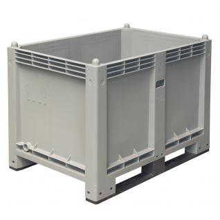 Palettenbox mit 2 Kufen, 1200x800x850 mm, Boden/Wände geschlossen, grau (38257)