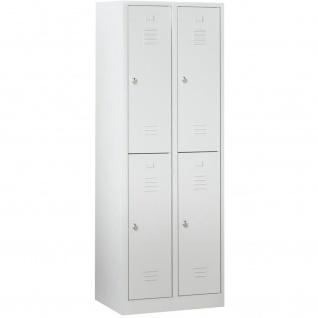 Schließfachschrank / Fächerschrank 4 Abteilen, HxBxT 1800x600x500 mm, lichtgrau