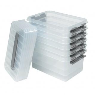 6 Klarsichtboxen mit Clipdeckel, transparent, LxBxH 300x200x140 mm, 6 Liter, PP