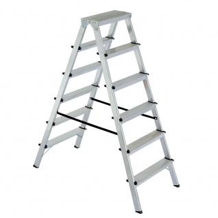 Doppelleiter/Bockleiter aus Alu 2x6 Stufen, max. erreichbare Arbeitshöhe 3300 mm