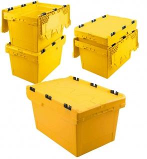 5x Mehrwegbehälter mit Deckel, gelb, verplompbar, LxBxH 600x400x350 mm, 58 Liter