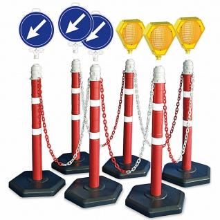 """Kettenpfosten-Set, 6 Ständer, 10 m Kette, 3x Blinklampen, 3x Leitschilder"""" Links"""