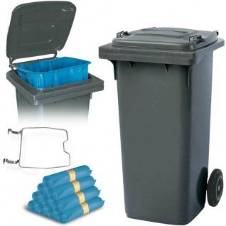 120 Liter Mülltonne grau mit Halter für Müllsäcke, inkl. 250 Müllsäcke