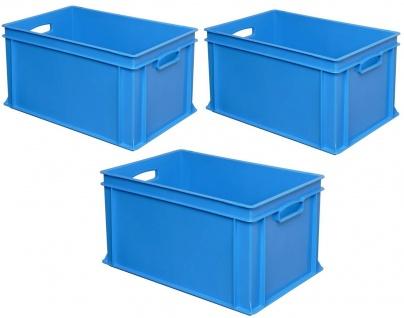 3 Eurobehälter / Stapelkiste, LxBxH 600 x 400 x 320 mm, blau, Inhalt 63 Liter