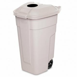 100 Liter Abfalltonne mit Einwurföffnung im Deckel, BxTxH 510x550x850 mm, beige