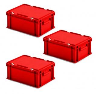 3 Deckelbehälter im Euroformat, LxBxH 400x300x185 mm, 16, 5 Liter, 1, 35 kg, rot