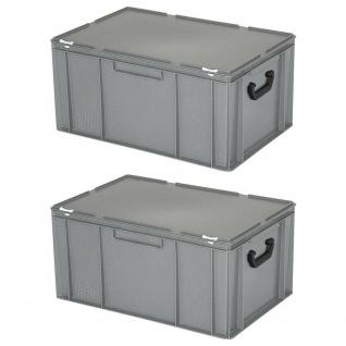2 Kunststoffkoffer/Eurokoffer mit 2 Tragegriffen, LxBxH 600x400x330 mm, grau