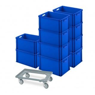 10 Eurobehälter 600x400x320 mm, blau + GRATIS Schwerlast-Transportroller