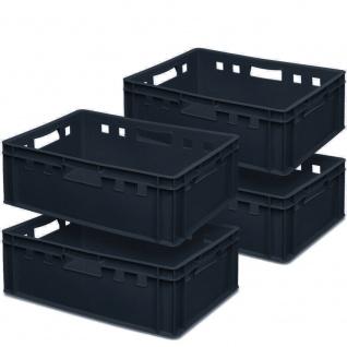 4x Fleischkasten / Eurobehälter E2, schwarz, 600x400x200 mm, lebensmittelecht