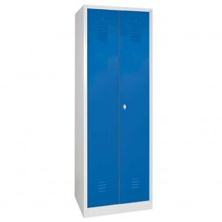 Putzspind mit Sockel, BxTxH 600 x 500 x 1800 mm, Korpus lichtgrau, Türen blau