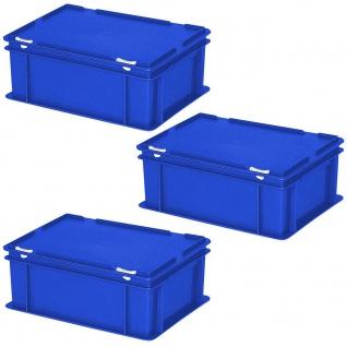 3 Deckelbehälter im Euroformat, LxBxH 400x300x180 mm, 16 Liter, 1, 6 kg, blau