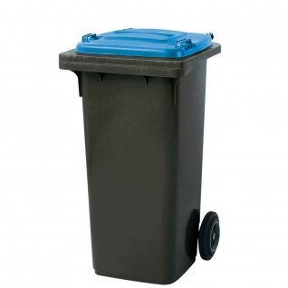 120 Liter MGB, Mülltonne Abfalltonne, grau mit blauem Deckel
