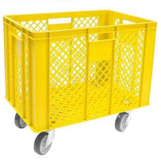 Korb mit 4 Lenkrollen, 83 Liter, 600x400x410/550 mm, Tragkraft ca. 120 kg, gelb