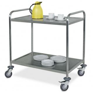 2 Servierwagen / Tischwagen aus Edelstahl, 1x 2 Böden, 1x 3 Böden, Trgkf 200 kg - Vorschau 2
