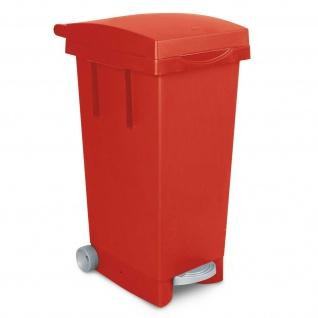 Treteimer mit Rollen, Inhalt 80 Liter, BxTxH 370 x 510 x 790 mm, rot