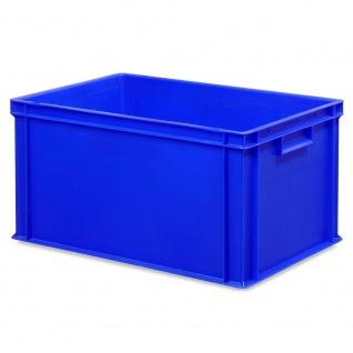 10 Euroboxen, LxBxH 600x400x320 mm + 10 Scharnierdeckel + 1 Transportroller, blau