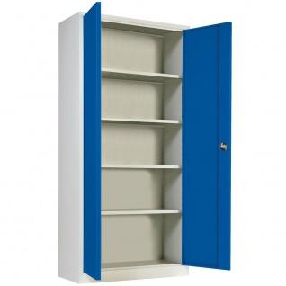 Stahlblechschrank, HxBxT 1800 x 800 x 380 mm, Korpus lichtgrau, Türen enzianblau