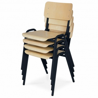 4-teiliges Stapelstuhl-Set, Gestell schwarz, Sitz/Lehne aus Buche-Schichtholz