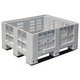 Palettenbox mit 3 Kufen, Wände geschlitzt, LxBxH 1200 x 1000 x 580 mm, grau