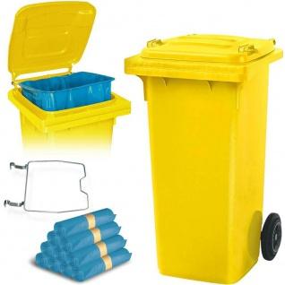 120 Liter Mülltonne gelb mit Halter für Müllsäcke, inkl. 250 Müllsäcke