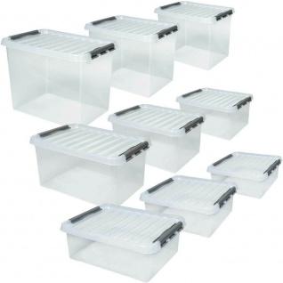 9 Klarsichtboxen mit Clipdeckel, transparent, je 3x 25 Liter, 36 Liter, 52 Liter