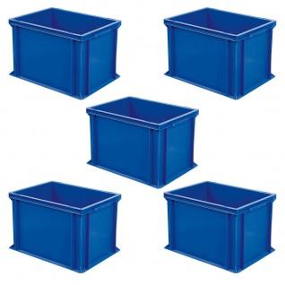 5 Eurokästen mit 2 Griffleisten, LxBxH 400x300x320 mm, 31 Liter, 1, 9 kg, blau