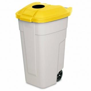 100 Liter Tonne mit Einwurföffnung im Deckel, BxTxH 510x550x850 mm, beige/gelb