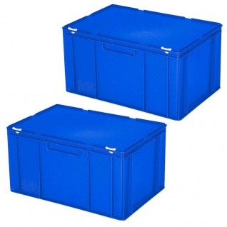 2 Eurobehälter mit Deckel, lebensmittelecht, LxBxH 600x400x330 mm, 63 Liter, blau