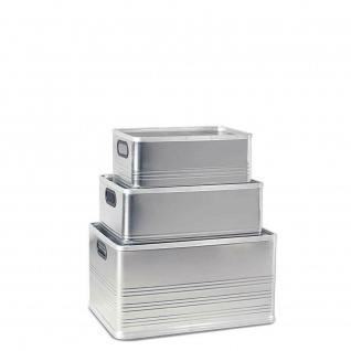 3 Transportboxen aus Aluminium, 29 Liter, 50 Liter und 79 Liter