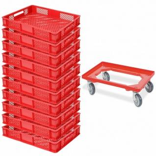 10x Bäckerkiste / Euroboxen, LxBxH 600x400x90 mm, rot + GRATIS Transportroller