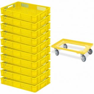 10 Bäckerkiste / Euroboxen, LxBxH 600x400x90 mm, gelb + GRATIS Transportroller