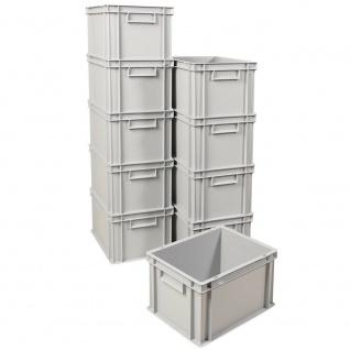 10x Eurobehälter / Stapelboxen, grau, LxBxH 400x300x235 mm, 22, 5 Liter