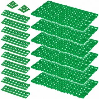 18-teiliges Set, 2, 4 m² Bodenrost, grün, aus lebensmittelechtem PE-HD