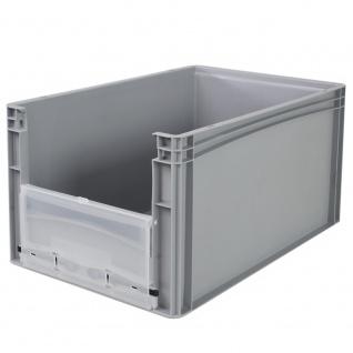Eurobehälter / Stapelbehälter mit Eingrifföffnung und Riegelklappe, LxBxH 600 x 400 x 320 mm, grau - Vorschau 2