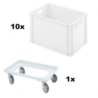 10x Eurobehälter, LxBxH 600 x 400 x 320 mm, weiß + 1 GRATIS Transportroller