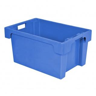 Drehstapelbehälter, Industriequalität, Euromaß 600 x 400 x 300 mm, 50 Liter, lebensmittelecht, blau