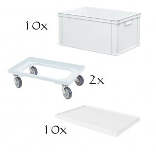 10 Euroboxen, LxBxH 600x400x320 mm + 10 Stülpdeckel + 2 Transportroller, weiß