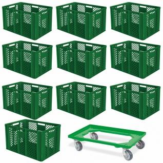 10 Euroboxen, 600x400x410 mm, lebensmittelecht, grün + GRATIS Transportroller