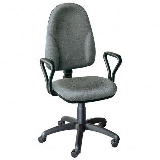 Drehstuhl mit Armlehnen, Sitzhöhenverstellung 400-530 mm, grau, Restposten
