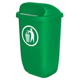 Abfallbehälter für den Außenbereich, Inhalt 50 Liter, nach DIN 30713, grün
