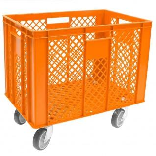 Korb mit 4 Lenkrollen, 83 Liter, 600x400x410/550 mm, Tragkraft ca. 120 kg, orange