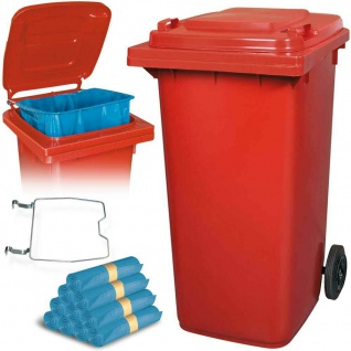 240 Liter Mülltonne rot mit Halter für Müllsäcke, inkl. 100 Müllsäcke